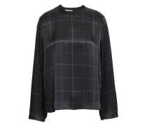Checked Silk-satin Top Black