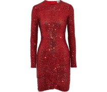 Michelle Sequined Tulle Mini Dress Red