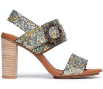 Buckle-embellished Painted Glittered Leather Sandals Gold