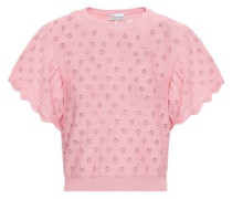 Ruffled Open-knit Cotton Top Baby Pink