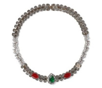 Woman Hammered Gold-tone, Stone And Crystal Necklace Multicolor