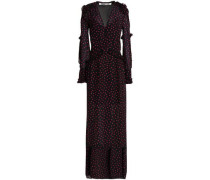Satin-paneled ruffle-trimmed printed crepe maxi dress