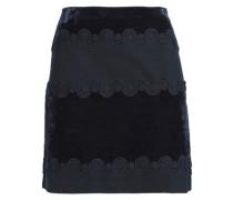 Lace-trimmed velvet and ponte mini skirt