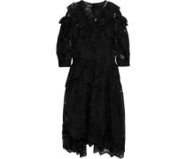 Ruffled Lace Midi Dress Black Size 12