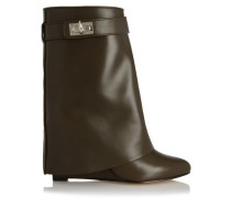 Folded side panels leather boots