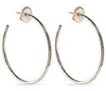 Sterling silver and diamond hoop earrings