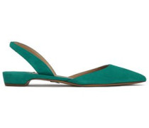 Suede Slingback Point-toe Flats Turquoise