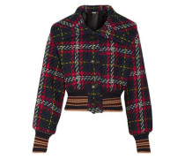 Cropped Checked Wool-tweed Bomber Jacket Midnight Blue