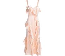 Twist-front satin-paneled crepe midi dress