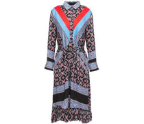 Woman John Belted Cady-paneled Printed Twill Shirt Dress Blue
