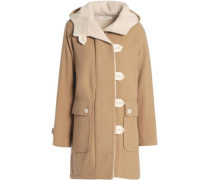 Faux Shearling-lined Wool-blend Coat Sand