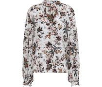 Ty Printed Silk Crepe De Chine Top Off-white