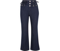 Cropped lace-up high-rise flared jeans