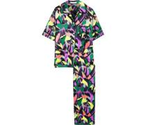 Daria Printed Silk-charmeuse Pajama Set Multicolor