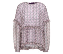Bow-detailed Velvet-trimmed Printed Georgette Top Lilac