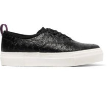 Textured-leather sneakers