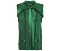 Frayed Chiffon-trimmed Silk-satin Jacquard Blouse Forest Green