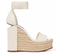 Cutout leather espadrille wedge sandals