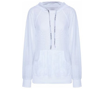 Open knit-paneled mesh hooded top