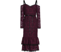 Maura Cold-shoulder Tiered Corded Lace Dress Plum