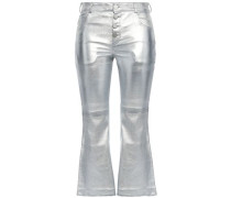 Coated Metallic Leather Bootcut Pants Silver