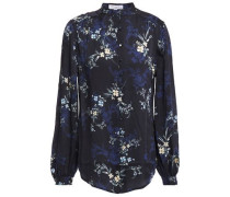 Woman Cornelia Floral-print Chiffon Blouse Midnight Blue