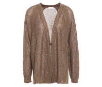 Woman Embellished Linen And Silk-blend Cardigan Light Brown