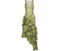 Asymmetric Ruffled Printed Fil Coupé Chiffon Gown Leaf Green