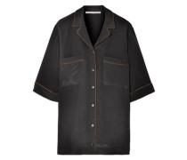 Woman Metallic-trimmed Silk Crepe De Chine Shirt Black