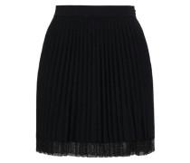 Pleated Stretch-knit Mini Skirt Black