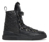 Apollonia Shearling-lined Quilted Leather Ankle Boots Black