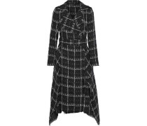 Kennedy Belted Checked Cotton-blend Tweed Coat Black