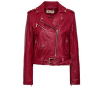Belted Leather Biker Jacket Claret