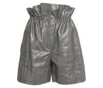 Coated Checked Linen Shorts Gray