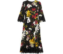 Lace-trimmed Floral-print Silk-blend Dress Black