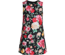Floral-jacquard mini dress