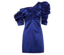 One-shoulder ruched cotton-blend satin mini dress