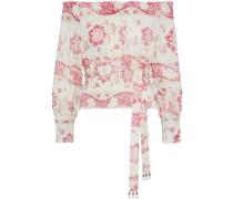 Woman Bayou Off-the-shoulder Shirred Floral-print Linen Blouse Beige