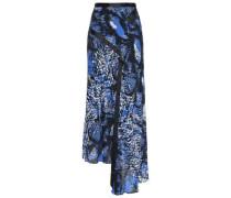 Asymmetric Grosgrain-trimmed Snake-print Gauze Midi Skirt Royal Blue