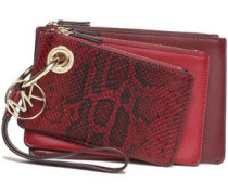 Set Of Three Snake-effect And Smooth Leather Pouches Merlot Size --