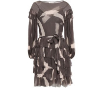 Tiered Printed Silk-georgette Mini Dress Charcoal Size 0