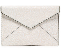 Woman Embossed Leather Envelope Clutch White