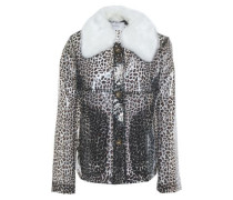 Faux Shearling-trimmed Leopard-print Pvc Jacket Animal Print