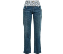Paneled Faded High-rise Straight-leg Jeans Mid Denim