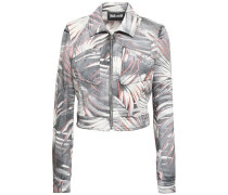 Printed Denim Jacket Light Gray