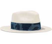 Denim-trimmed straw Panama hat