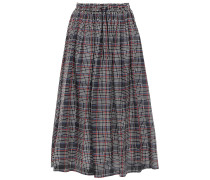 Woman Lulu Checked Cotton And Silk-blend Twill Midi Skirt Black