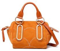 Leather-trimmed Suede Shoulder Bag Camel Size --