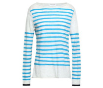 Striped Cashmere Sweater Light Gray