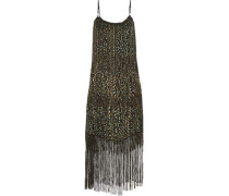 Pacey fringed metallic flocked chiffon midi dress